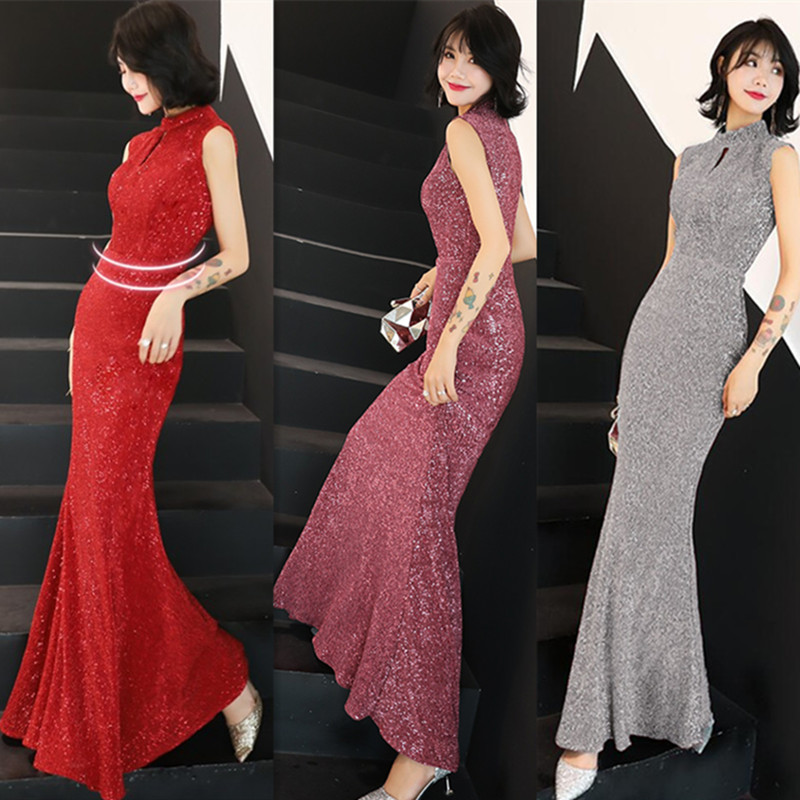 Temperament Evening Dress Skirt Female New Banquet Dignified Atmospheric Long Fishtail Ladies Annual Host