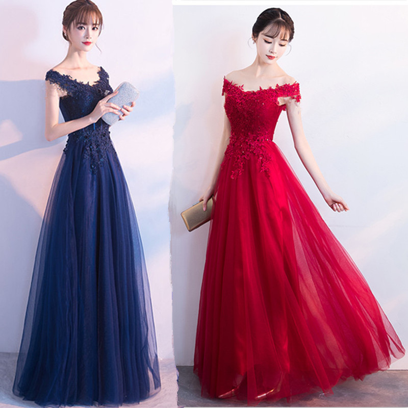 Toast Clothing Bride 2020 New Spring Sexy Word Shoulder Long Slim Was Thin Red Wedding Evening Dress Female