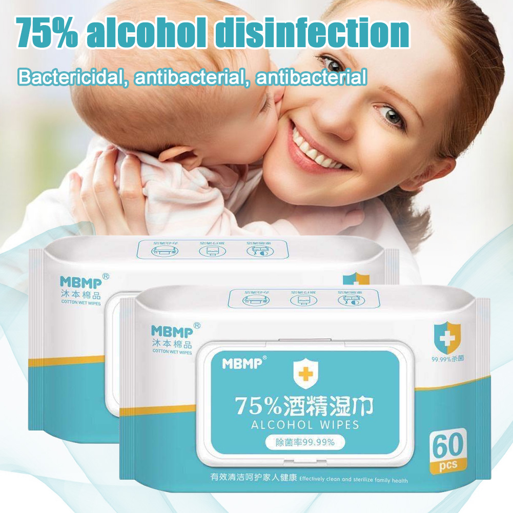 60pcs Portable 75% Alcohol Wet Wipes Antiseptic Cleaning Sterilization Wipes Wet Wipes