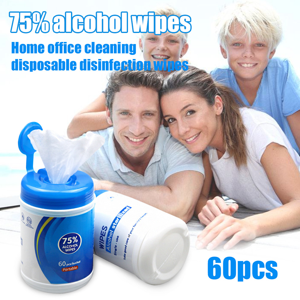 60pcs Portable 75% Alcohol Drum Wet Wipes Antiseptic Cleaning Sterilization Wipes Wet Wipe