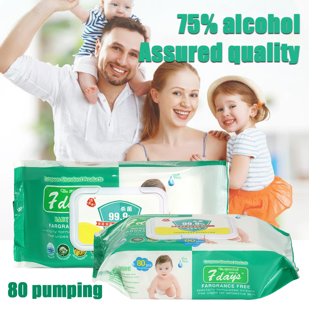 80pcs Portable 75% Alcohol Wet Wipes Antiseptic Cleaning Sterilization Wipes Wet Wipes