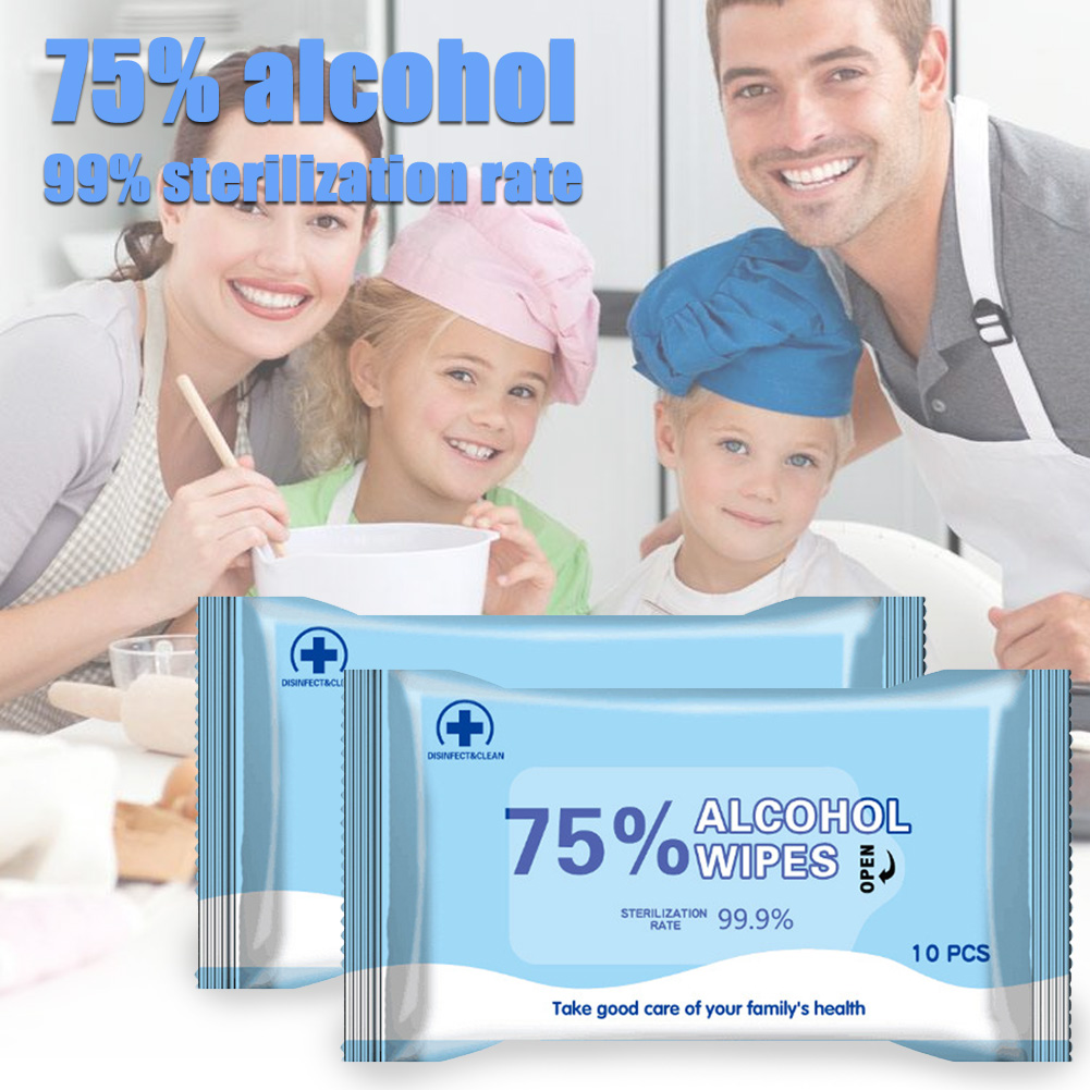 10pcs Portable 75% Alcohol Wet Wipes Antiseptic Cleaning Sterilization Wipes Wet Wipes