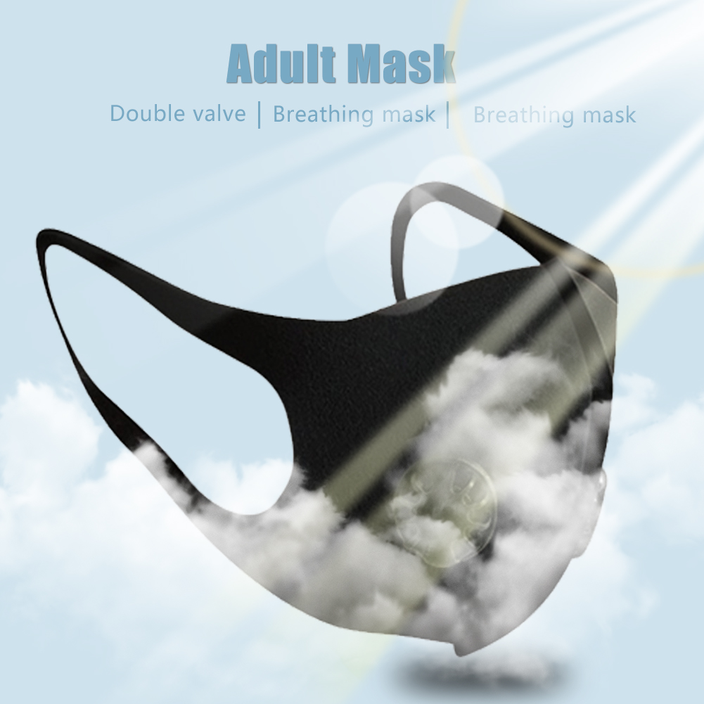 Adult Mask Nano Breathable Face Mask with Double Breathing Valve Reusable Anti Dust Pollution Face Shield Wind Proof Mouth Cover