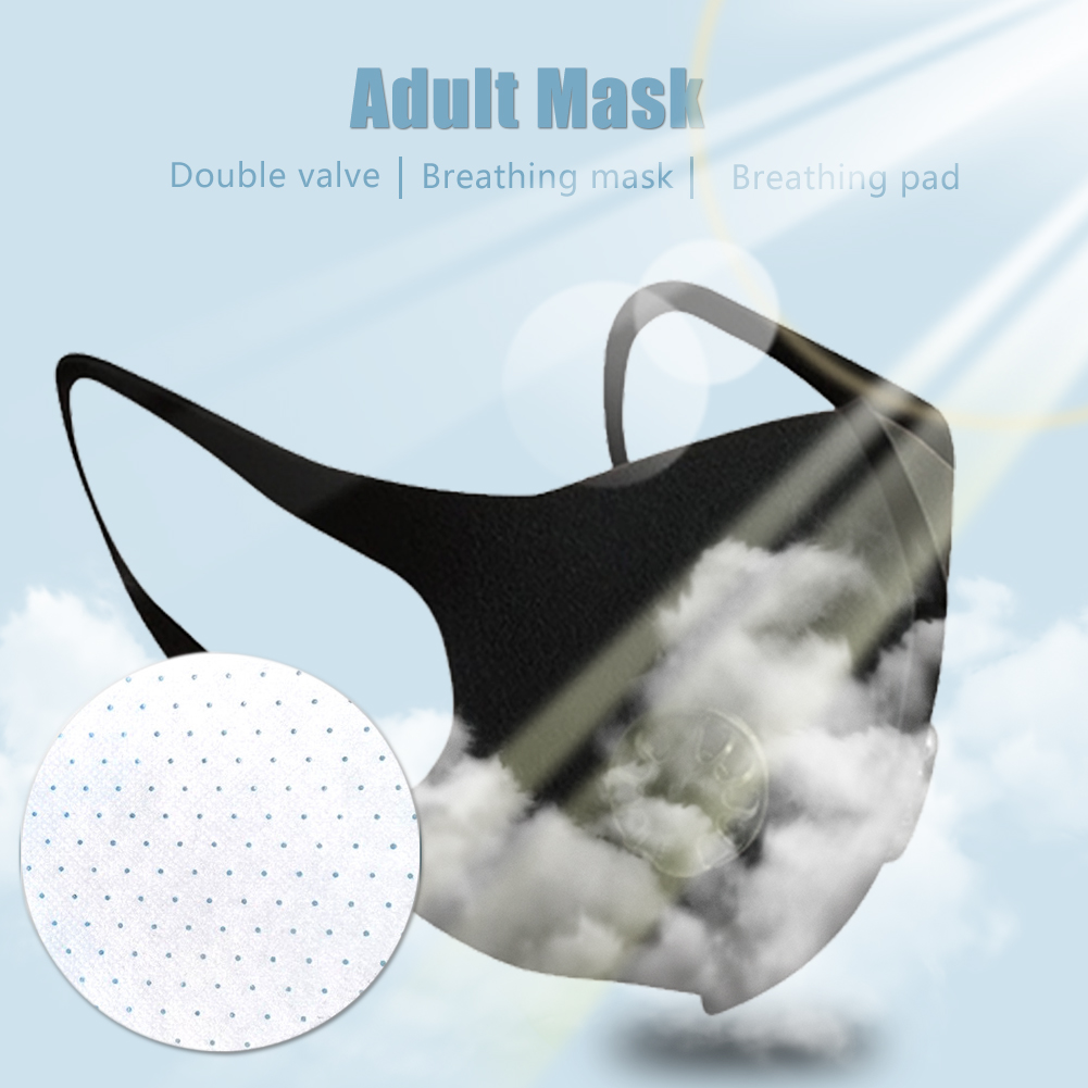 Adult Mask Nano Breathable Face Mask with Double Breathing Valve Reusable & Mask Cusion Anti Dust Pollution Face Shield Wind Proof Mouth Cover