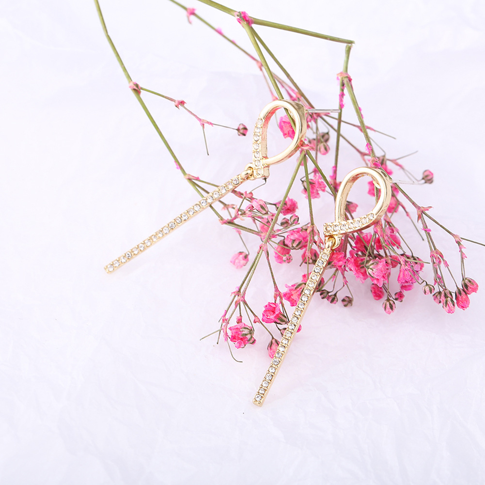 New Fashion Small Circle Knot Long Ear Studs S925 Silver Needle Earrings Women Jewelry Gift