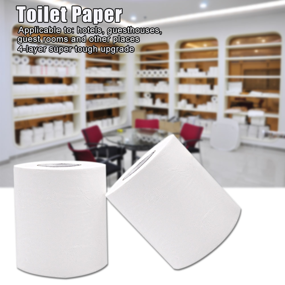 1 Roll 4 layers Bath Paper Toilet Roll Paper Soft Skin-Friendly Household Family Bathroom Paper Towel