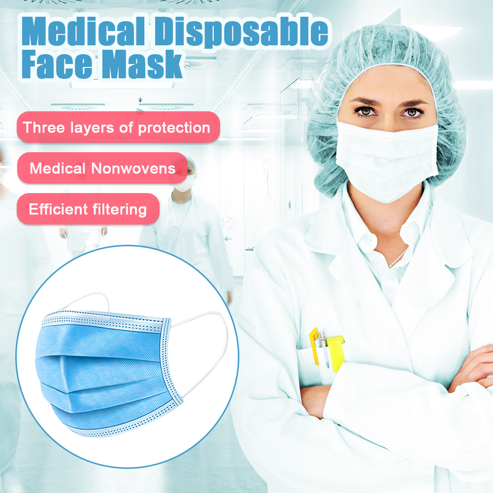 50pcs Medical Mask 3 Layer Filter Disposable Mask Non-woven Mouth Nose Earhook Face Masks Anti-dust