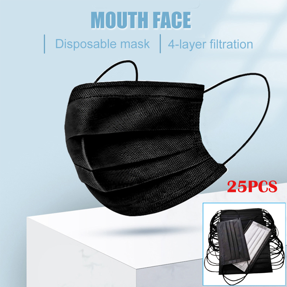 25Pcs Mouth Mask Disposable 4-Layer Filter Mouth Face Masks Non-Woven Mask Anti-Dust Mask Activated Anti Haze Black
