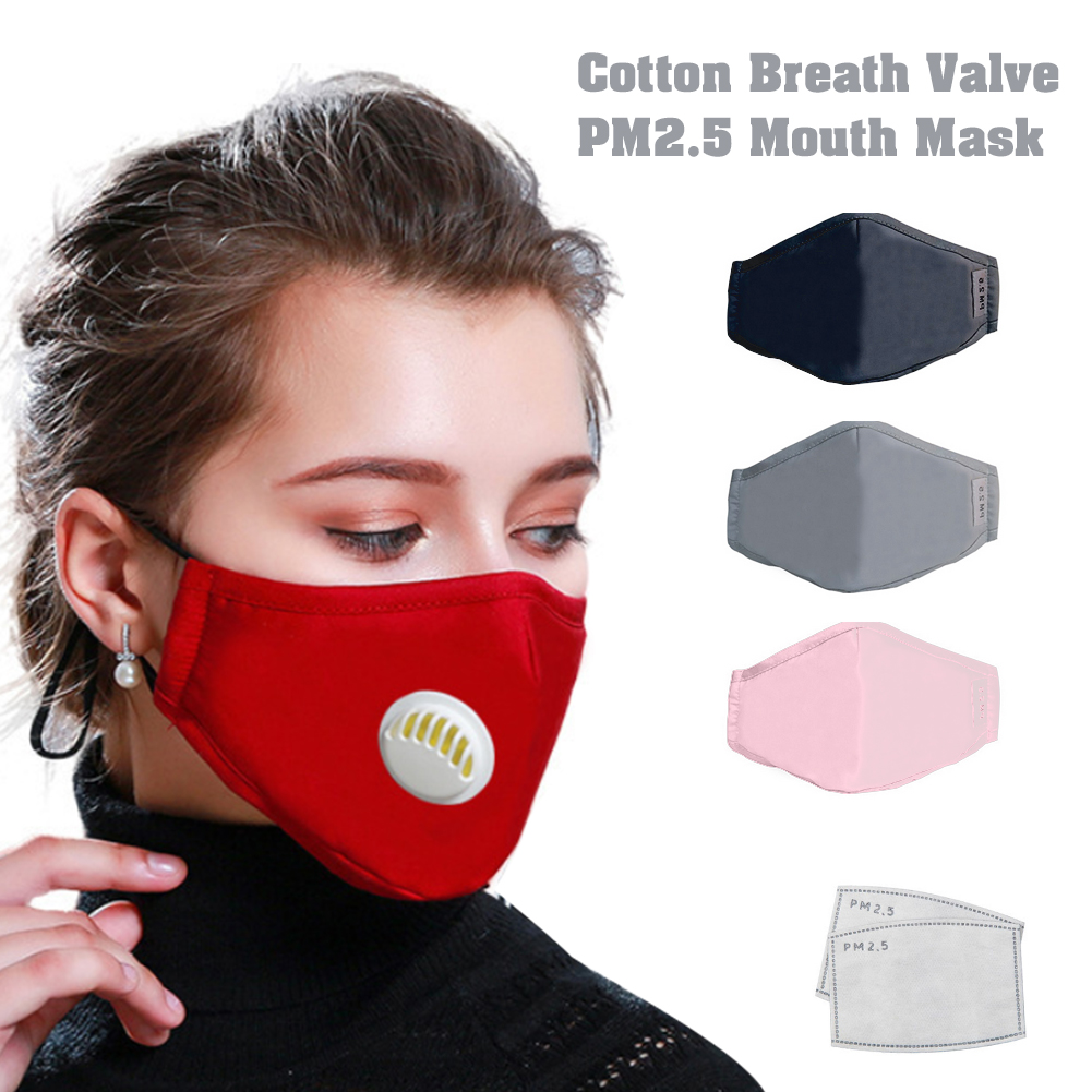 Unisex Cotton Breath Valve PM2.5 Mouth Mask Anti-Dust Anti Pollution Mask Cloth Activated Carbon Filter Respirator With 2Pcs Filter Papers