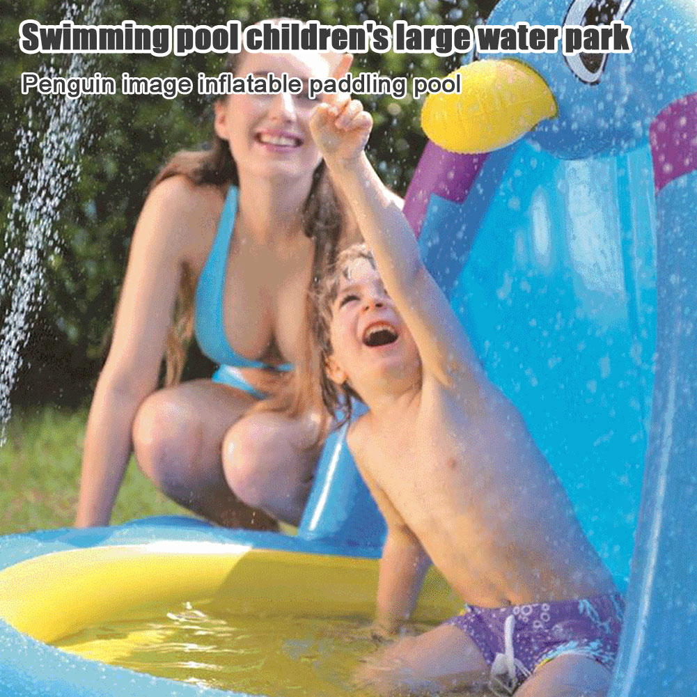 Baby Shade Beach Tent Pool for Summer Blow Up Toy with Sprinkler Thicken Infants Lounge Pit Water Park for Kids Toddlers