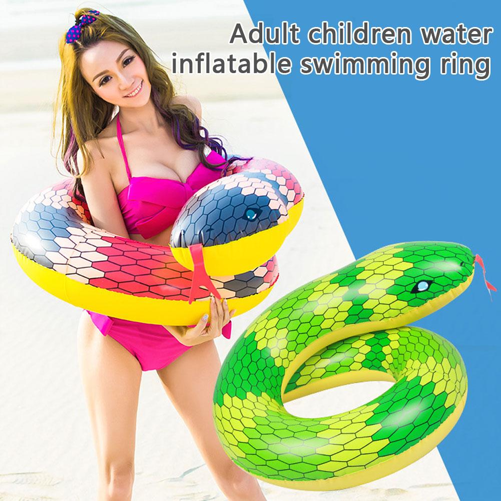 Pool Float Tubes Inflatable Swim Ring 3D Snake Animal Water Rafts Foam Toy for Adults Kids Summer Outdoor Beach Party Playing Decoration