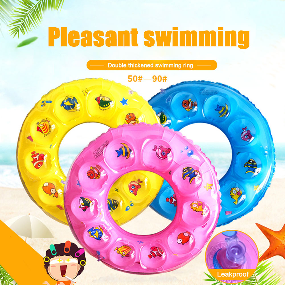 Inflatable Kid Pool Float Blow-up dual Crystal Swim Tube Toy for Baby Women Swimming Summer Cartoon Pattern Beach Games Party Decoration