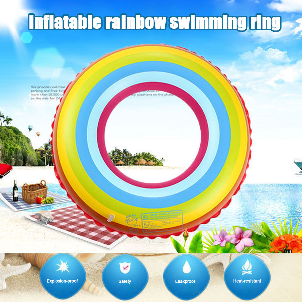 Inflatable Pool Tube Raft with Rainbow Painting Life Buoy Funny Kid Toys Adults Swim Ring for Pool Party Decorations