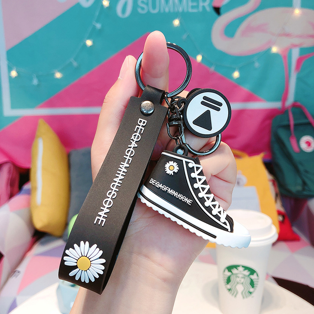 Female Daisy Shoes Key Chain Couple Canvas Shoes Cute Bag Pendant(with Soft Rope)