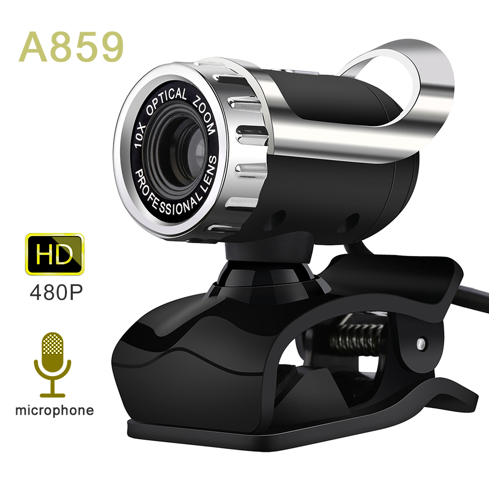 HD Live Streaming Webcam, USB Desktop and Laptop Webcam, Mini Plug and Play Video Calling Computer Camera, Built-in Mic, Flexible Rotatable Clip
