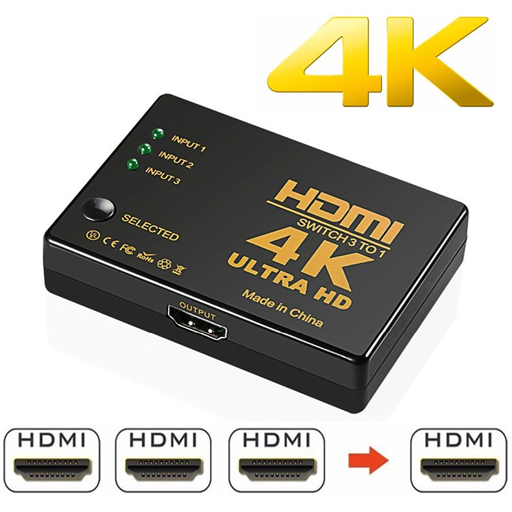 HDMI Switch Splitter Intelligent 5-Port HDMI Switcher, Supports 4K, Full HD1080p, 3D with IR Remote 1080P HD Audio for Nintendo Switch, Xbox One, Roku 3, Apple TV HD TV Xbox PS3 PS4 5 in 1 Out