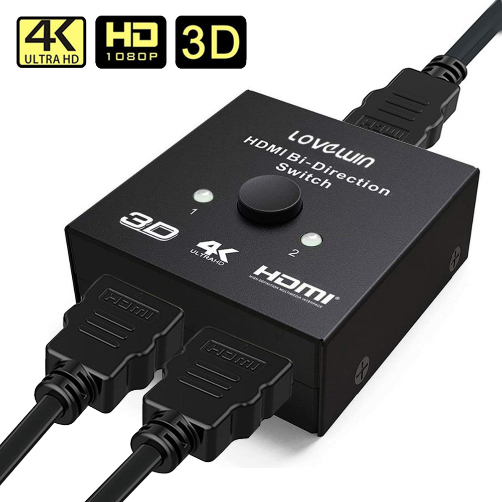 HDMI 2.0 Switch 2x1 or 1x2 HDMI Bi-Directional Switcher with HDCP Pass Through, Support UHD 4Kx2K@60Hz & 3D