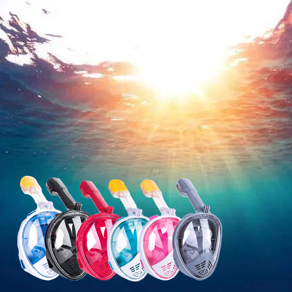 Full Face Snorkel Mask Detachable Breathing Tube Snorkeling Mask with Camera Mount 180�� Panoramic View Diving Mask Dry Top Set Anti-Fog Anti-Leak for Adults