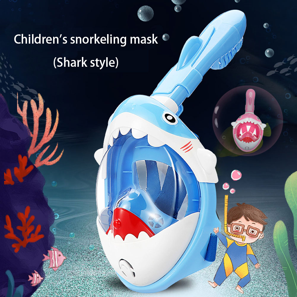 Full Face Snorkel Mask with 180�� Panoramic View Anti-Fog Anti-Leak for Kids Youth with Adjustable Head Straps Baby Shark Sharp Swimming Mask