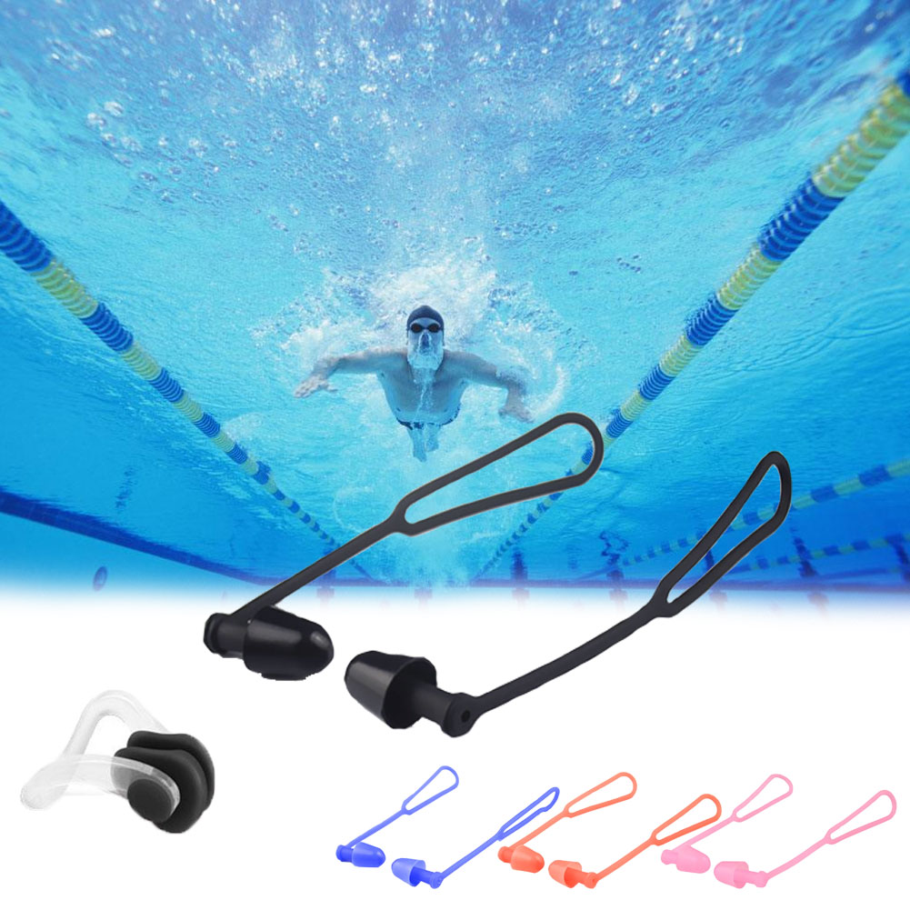 Swimming Earplugs Waterproof Nose Clip Prevent Water Noise Reduction Protection Ear Plug Soft Silicone Swim Dive Supplies