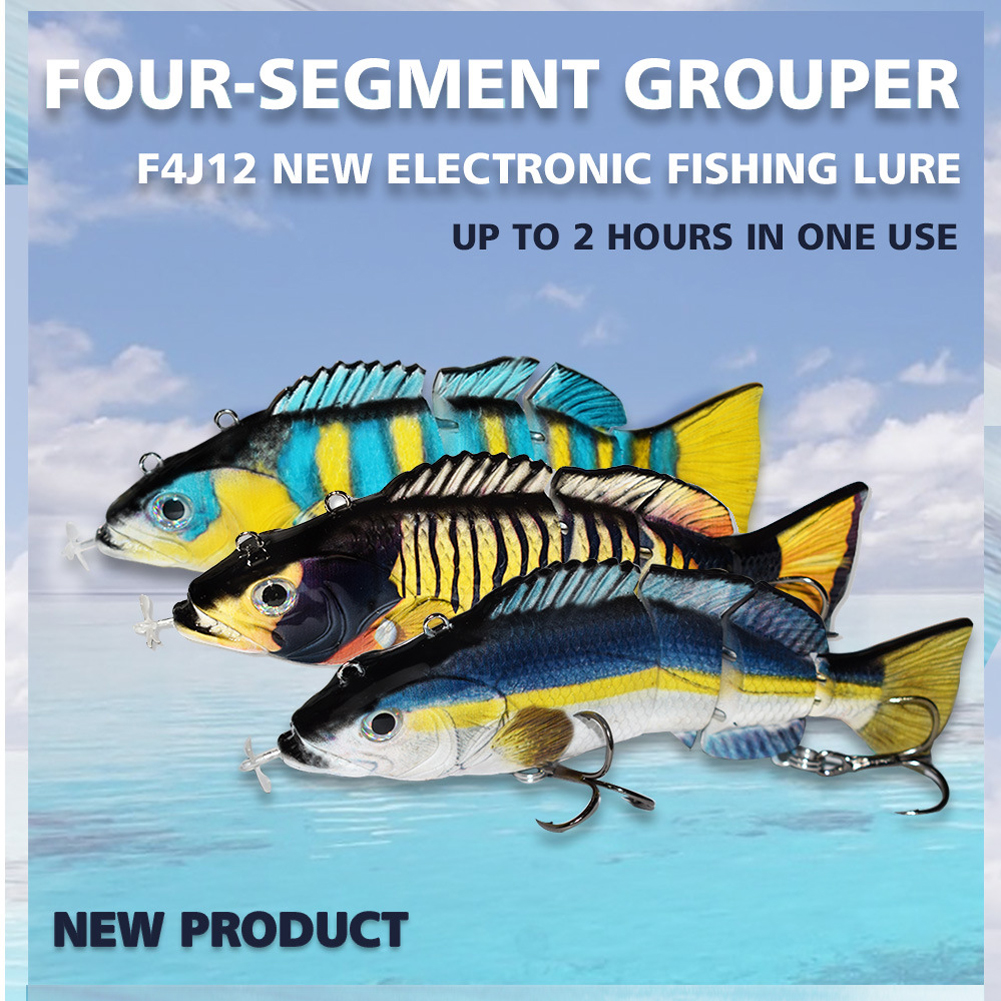 Auto Swimming Fishing Lures Electric Lure Baits for 4-Segements Swimbait USB Rechargeable Multi Jointed Flashing LED Light Bionic Hard Fishing Tackle