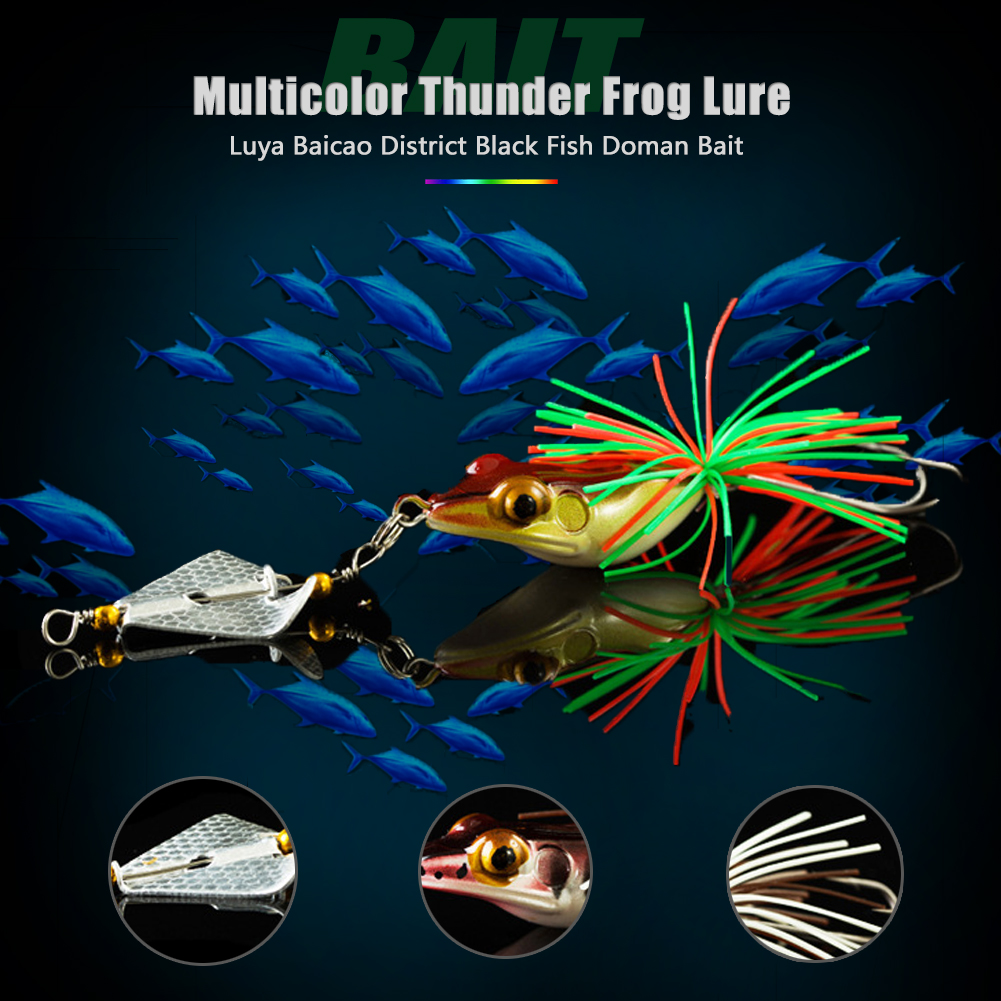 Hard Fishing Lure with Propeller Rotating Sequins Frog Lure Bait Rubber Jig Snakehead Sinking Fishing Bionic Bass CrankBait Tackle