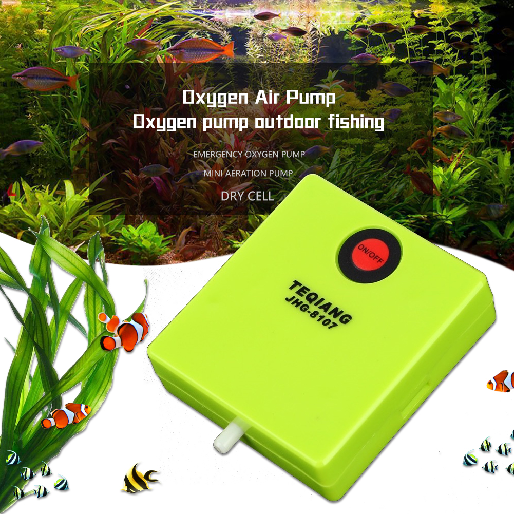 Mini Aquarium Fish Tank Oxygen Air Pump AA Battery Power Supplied Operated Aerator Oxygen with Air Stone for Wild Fishing