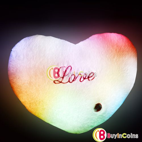 Romantic 7 Color LED Light Changing Flashing Fluffy Cushion Throw Heart Pillow
