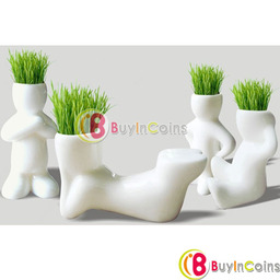 Creative Ceramic Magic Grass Garden Table Planting Baby Plants Porcelain Toy Pot